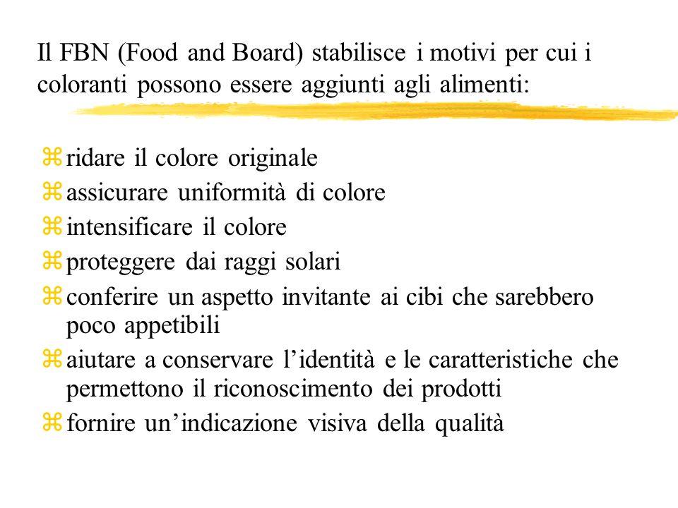 Il FBN (Food and Board) stabilisce i motivi per cui i coloranti possono essere aggiunti agli alimenti: