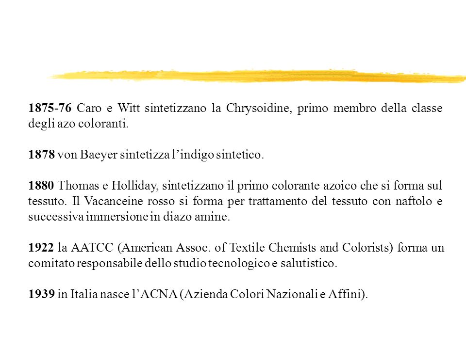 1875-76 Caro e Witt sintetizzano la Chrysoidine, primo membro della classe degli azo coloranti.
