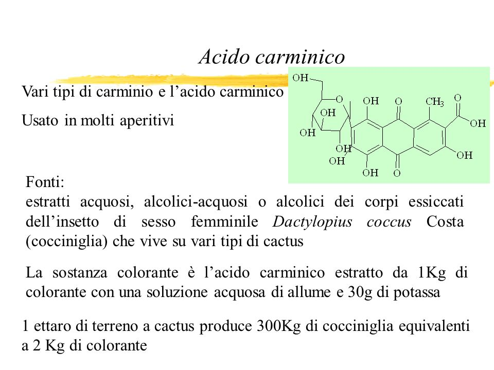 Acido carminico Vari tipi di carminio e l'acido carminico