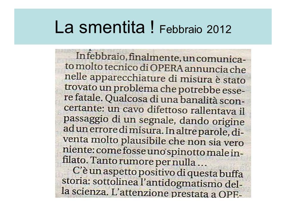 La smentita ! Febbraio 2012
