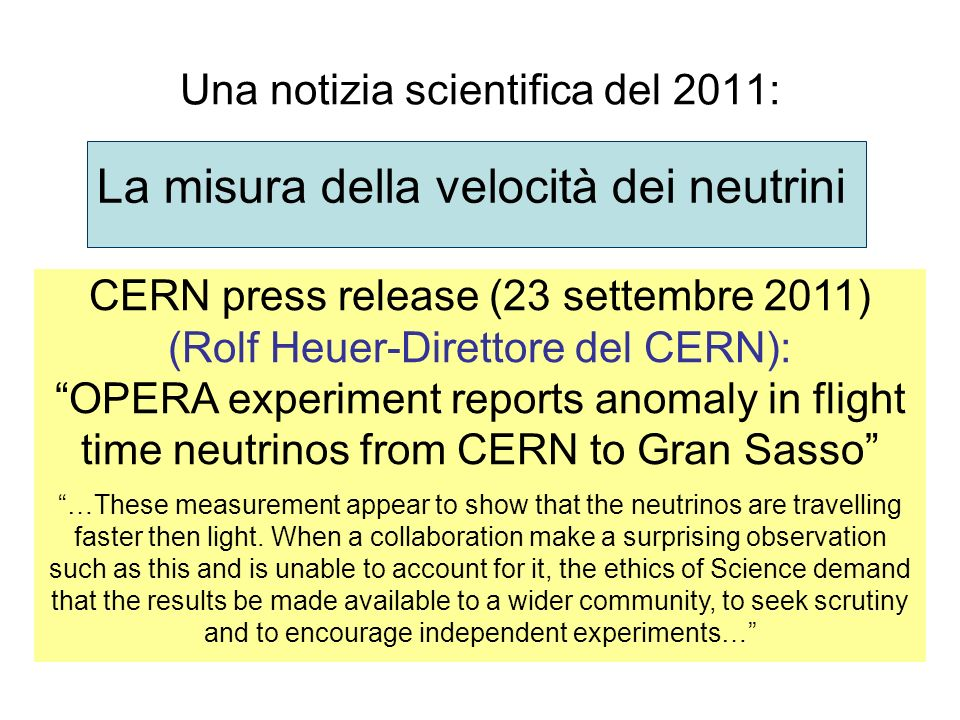 Una notizia scientifica del 2011: