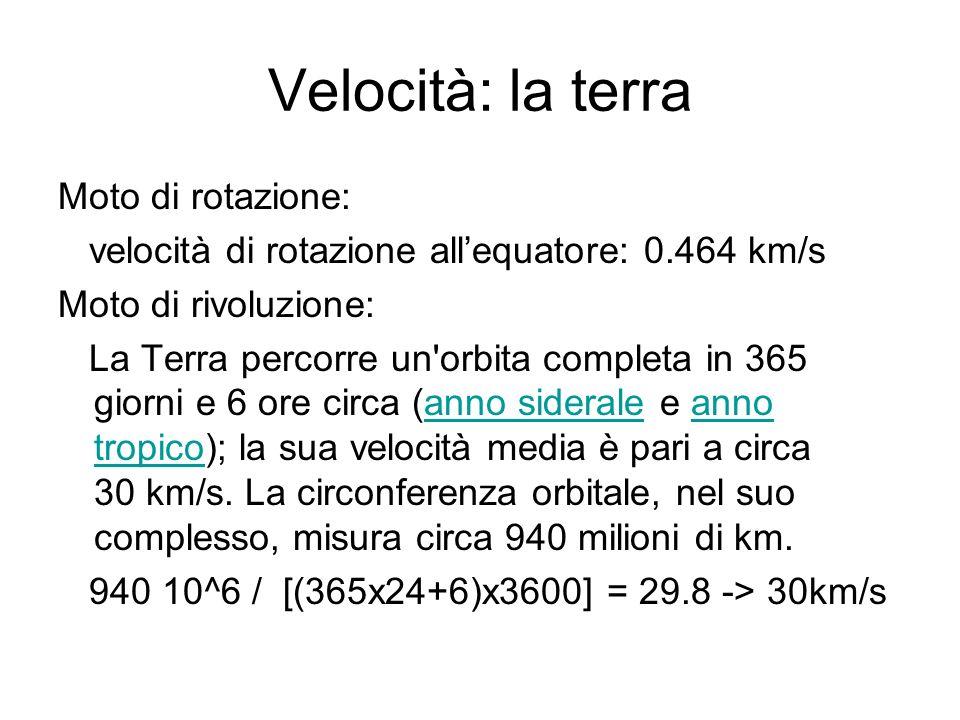 Velocità: la terra Moto di rotazione: