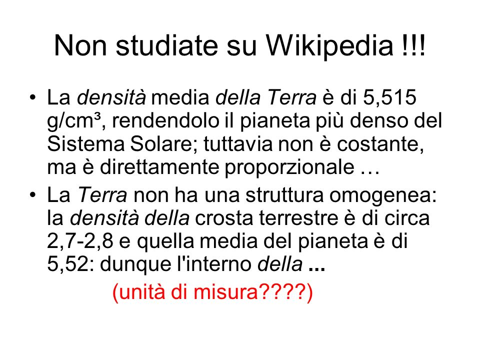 Non studiate su Wikipedia !!!