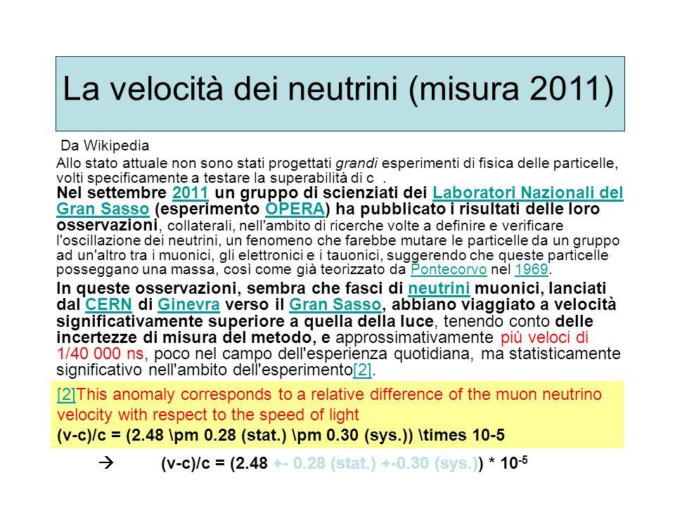 La velocità dei neutrini (misura 2011)
