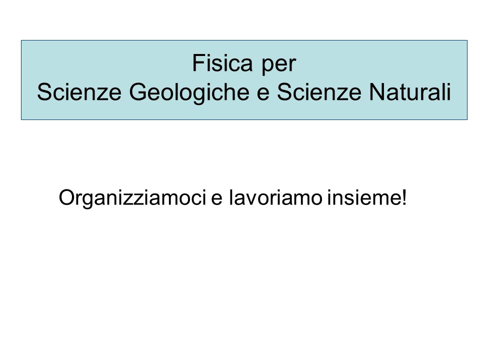 Scienze Geologiche e Scienze Naturali