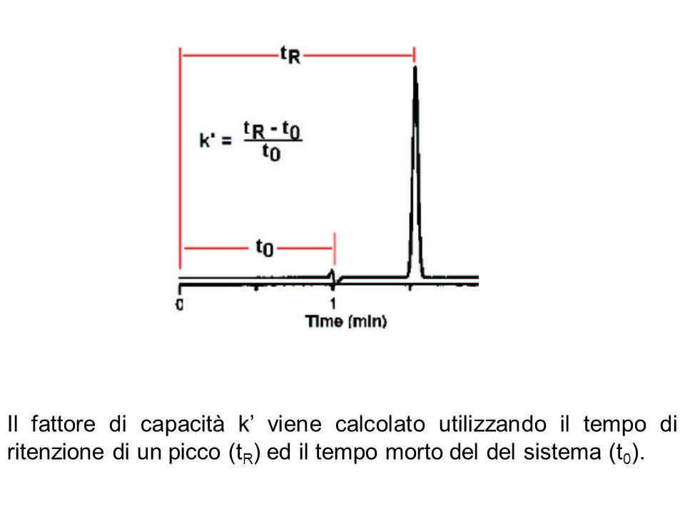 Il fattore di capacità k' viene calcolato utilizzando il tempo di ritenzione di un picco (tR) ed il tempo morto del del sistema (t0).