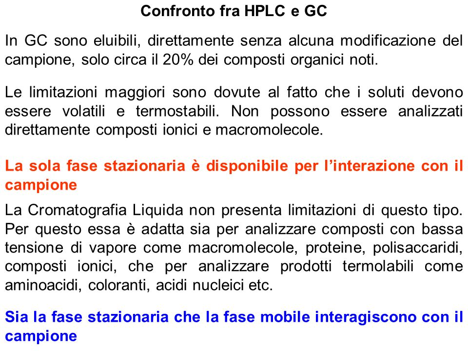 Confronto fra HPLC e GC In GC sono eluibili, direttamente senza alcuna modificazione del campione, solo circa il 20% dei composti organici noti.