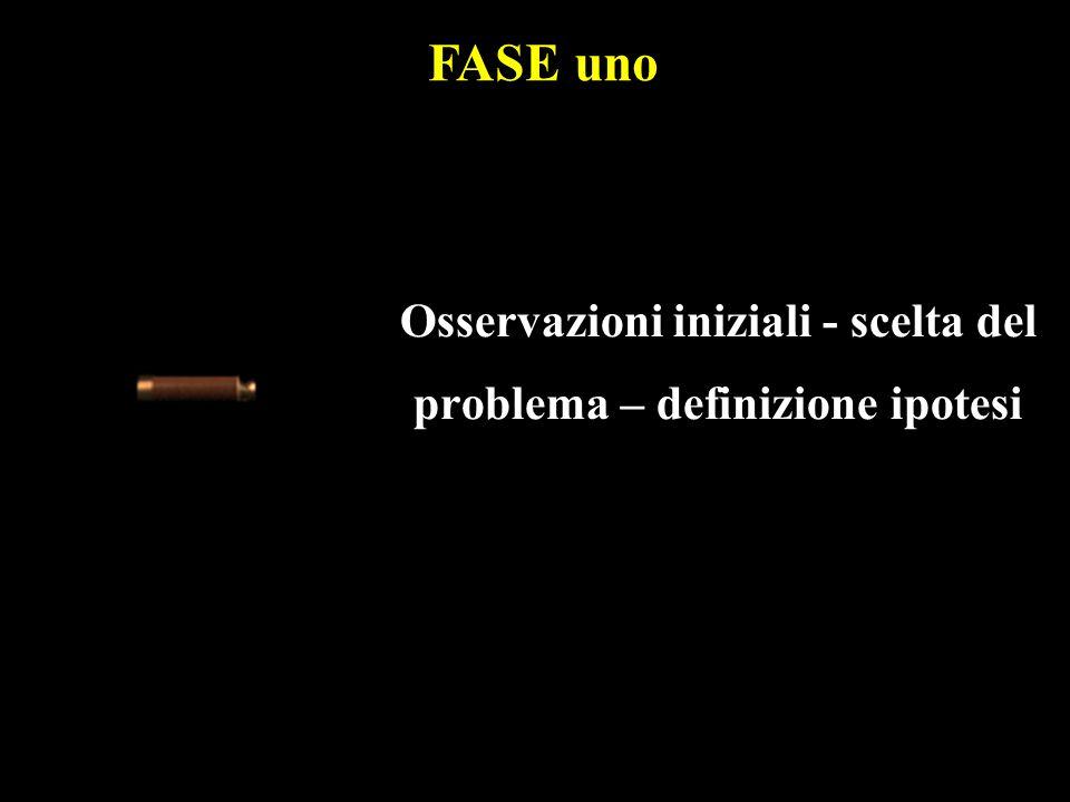 Osservazioni iniziali - scelta del problema – definizione ipotesi