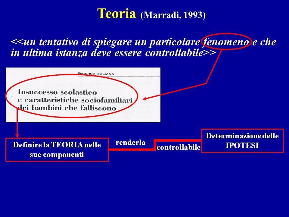 Determinazione delle IPOTESI Definire la TEORIA nelle sue componenti