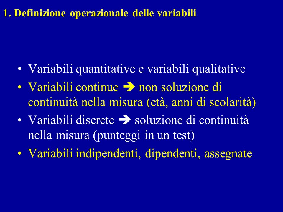Variabili quantitative e variabili qualitative