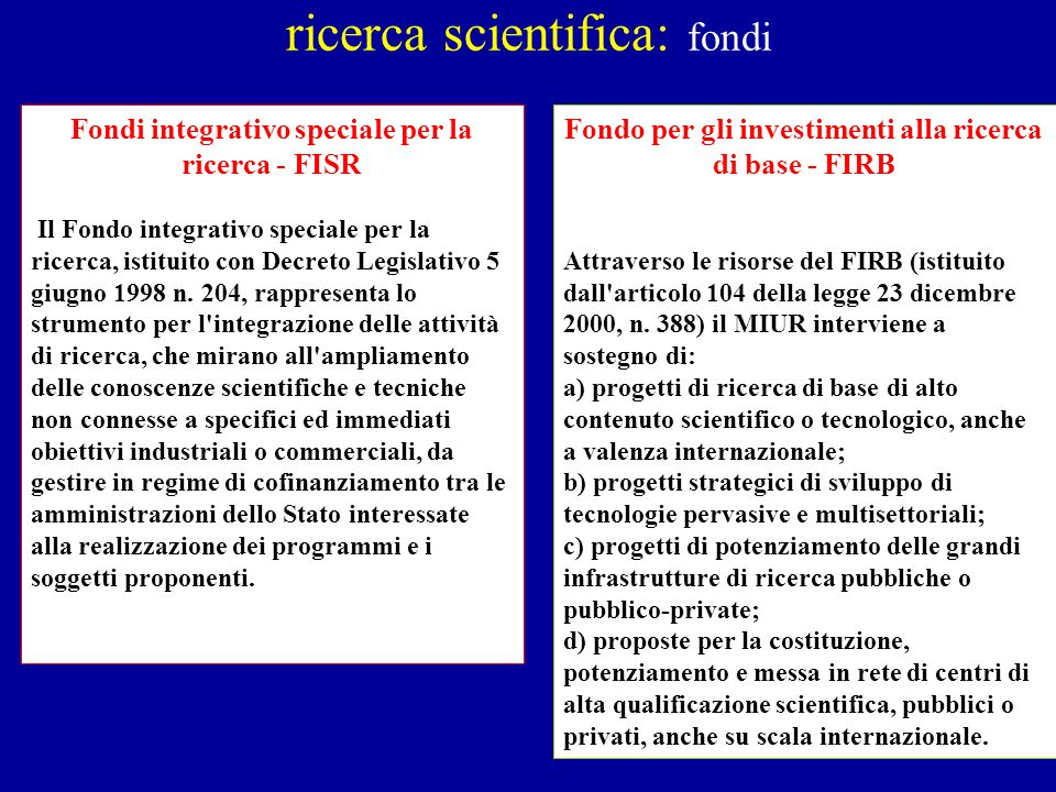 ricerca scientifica: fondi