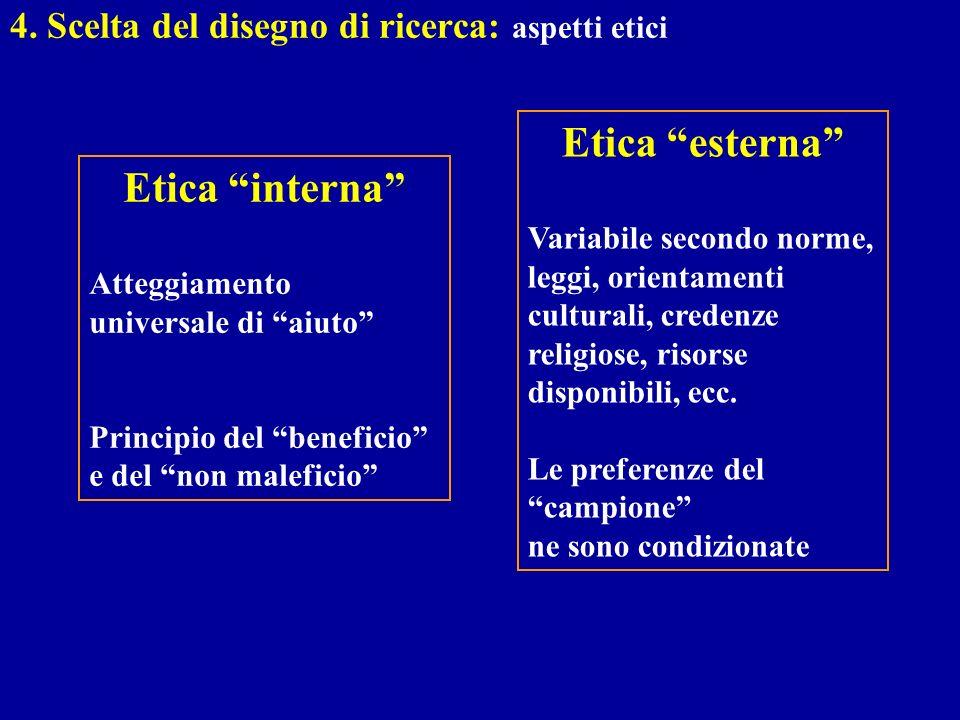 4. Scelta del disegno di ricerca: aspetti etici