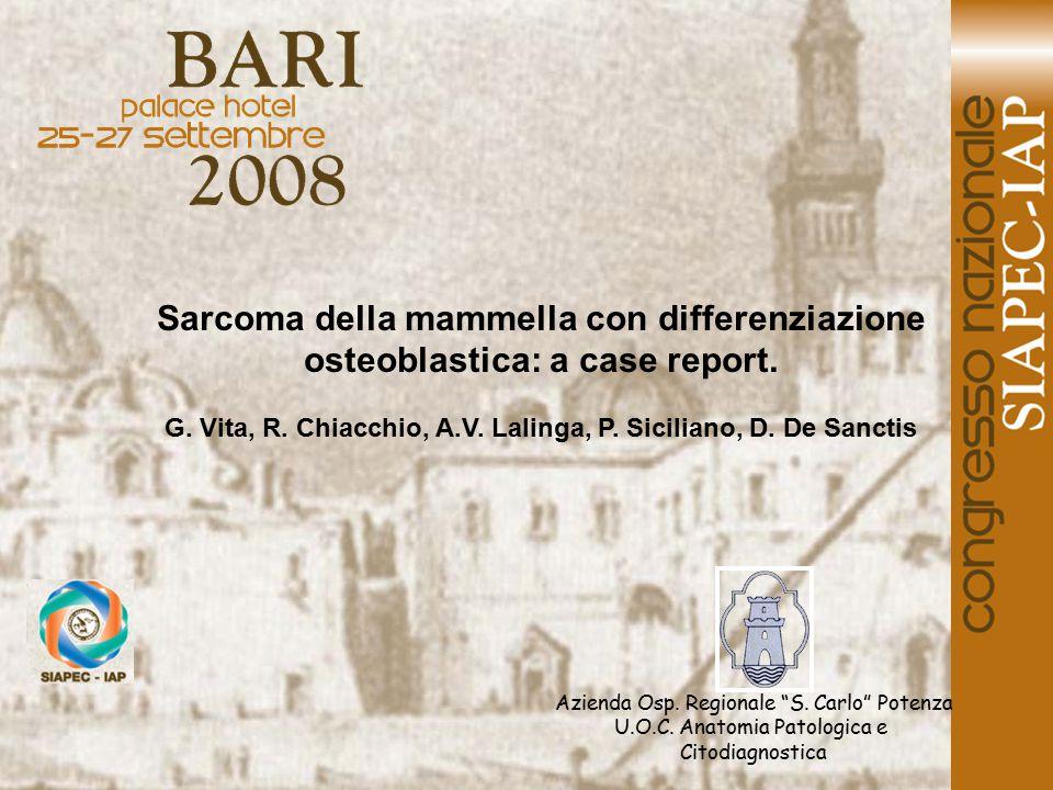 G. Vita, R. Chiacchio, A.V. Lalinga, P. Siciliano, D. De Sanctis
