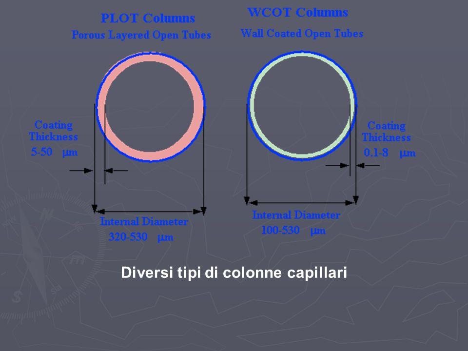 Diversi tipi di colonne capillari