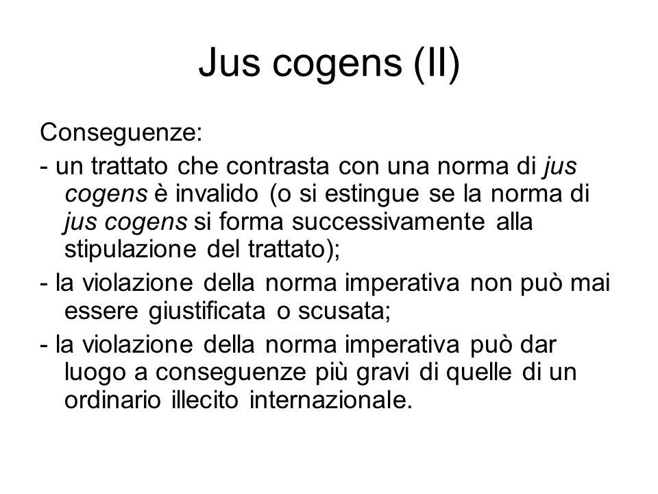 Jus cogens (II) Conseguenze: