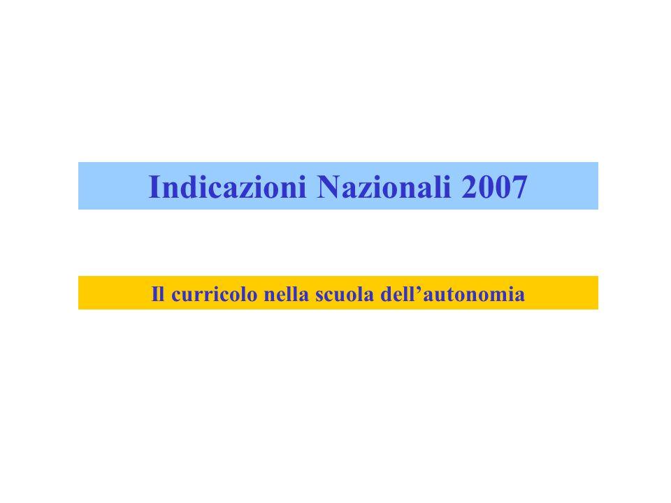 Indicazioni Nazionali 2007 Il curricolo nella scuola dell'autonomia