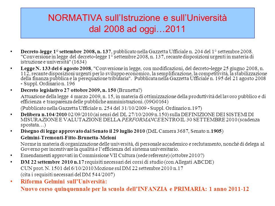 NORMATIVA sull'Istruzione e sull'Università dal 2008 ad oggi…2011