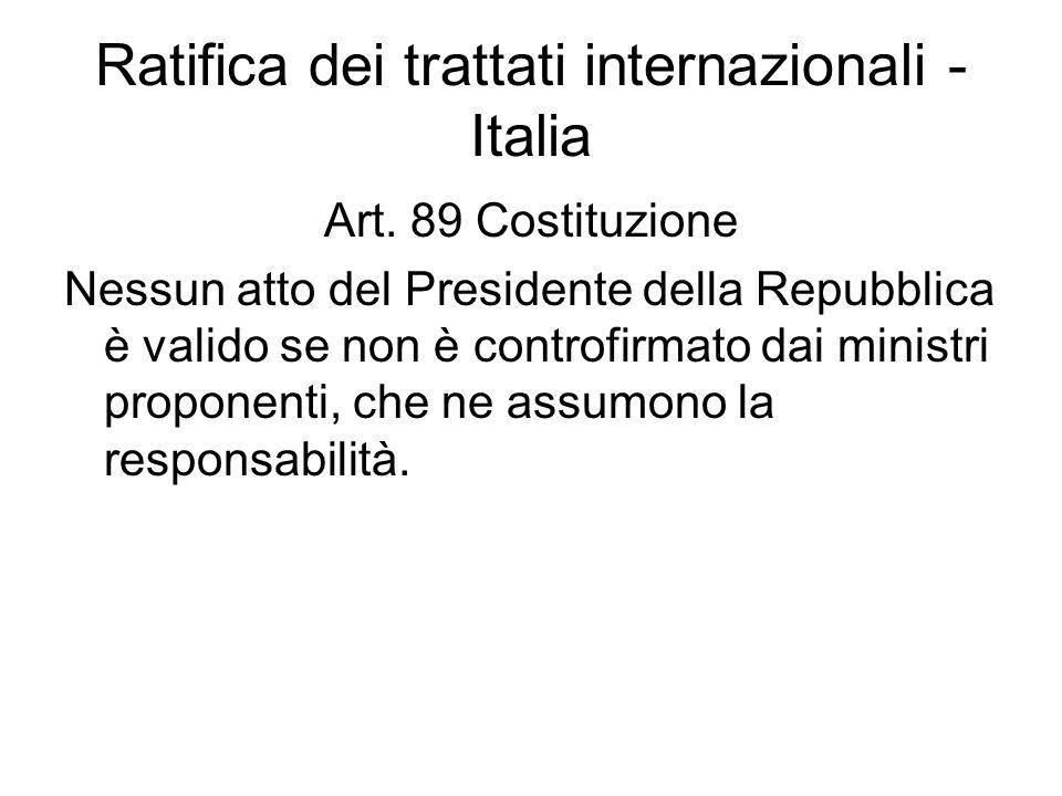 Ratifica dei trattati internazionali - Italia