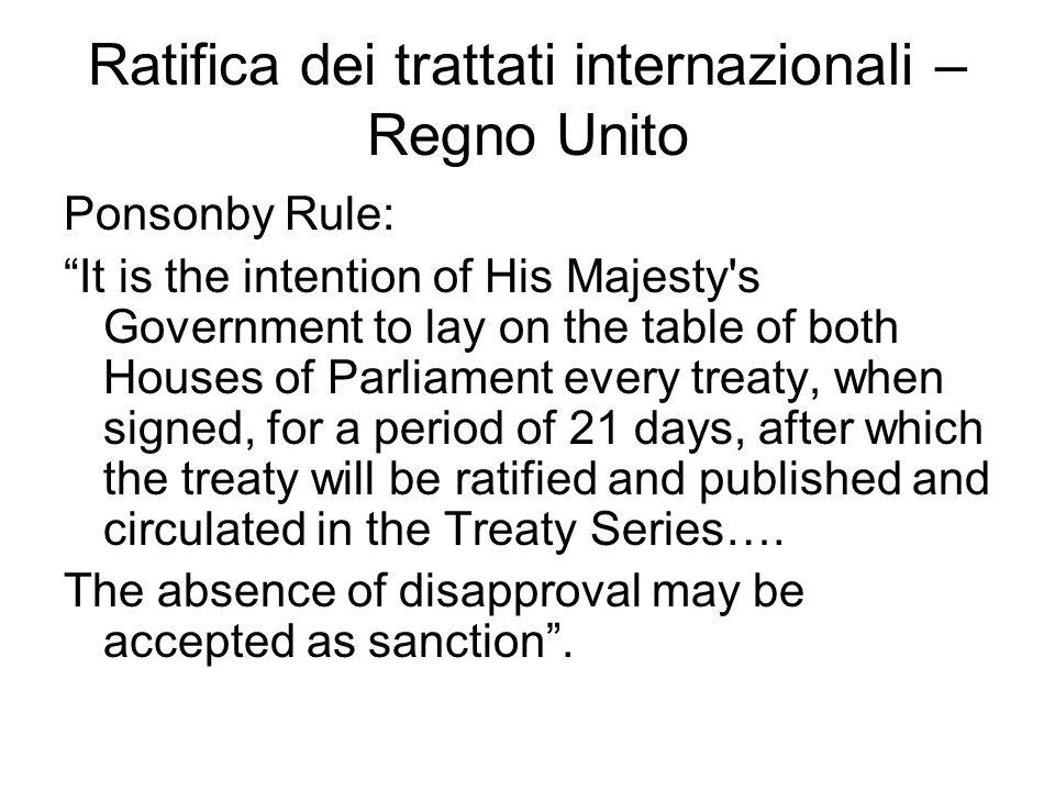 Ratifica dei trattati internazionali – Regno Unito