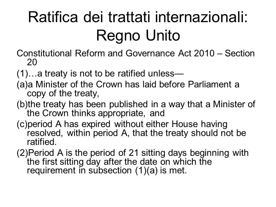 Ratifica dei trattati internazionali: Regno Unito