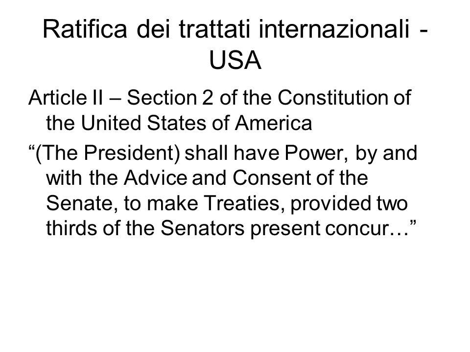 Ratifica dei trattati internazionali - USA