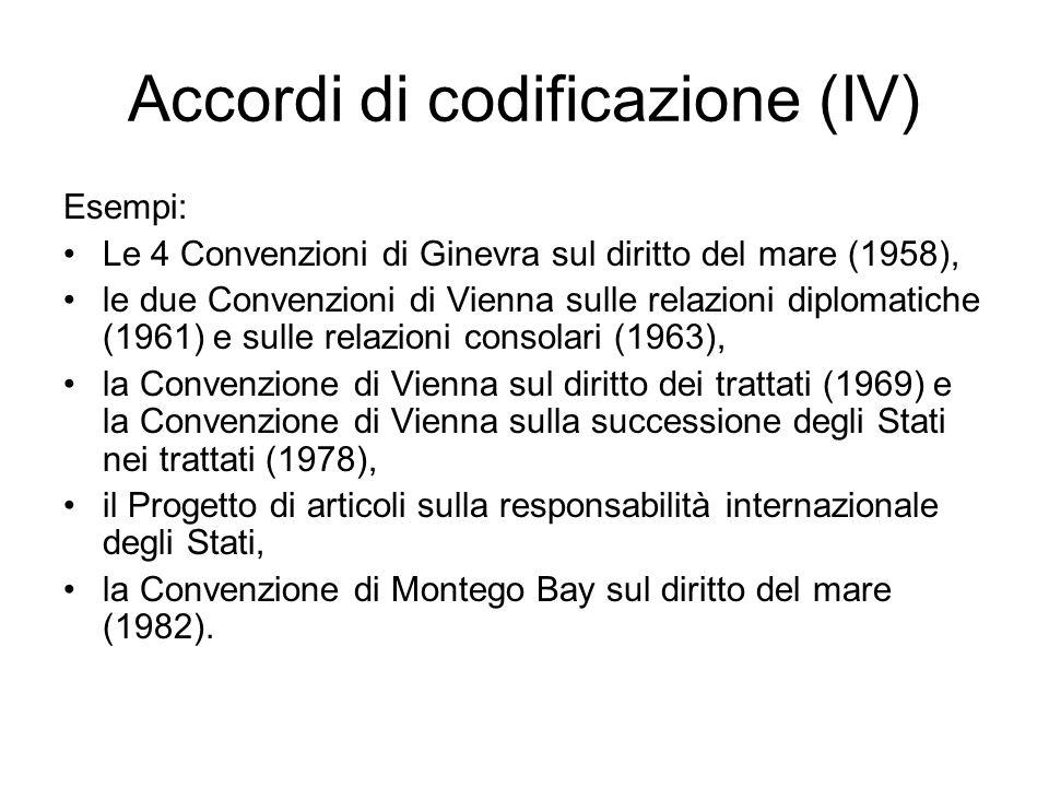 Accordi di codificazione (IV)