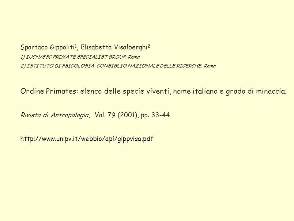 Spartaco Gippoliti1, Elisabetta Visalberghi2