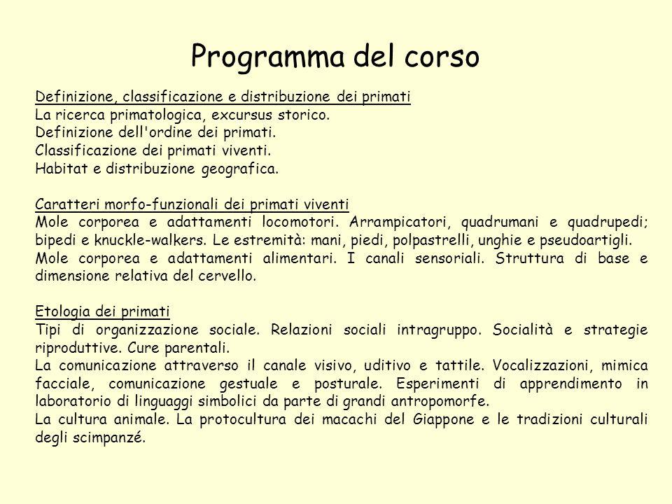 Programma del corso Definizione, classificazione e distribuzione dei primati. La ricerca primatologica, excursus storico.