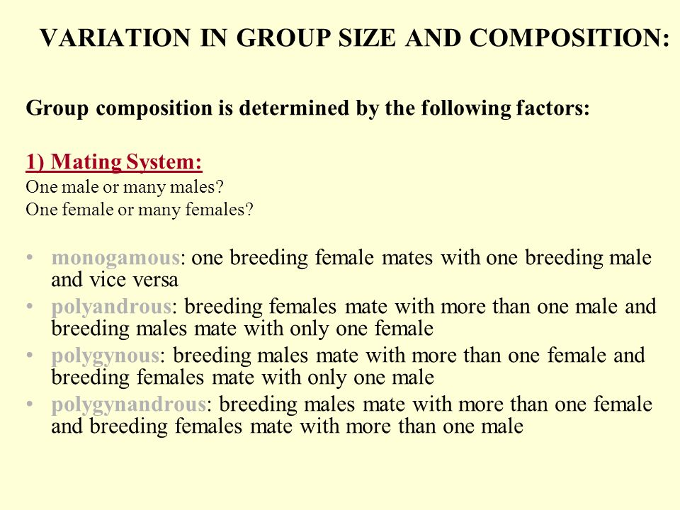 VARIATION IN GROUP SIZE AND COMPOSITION: