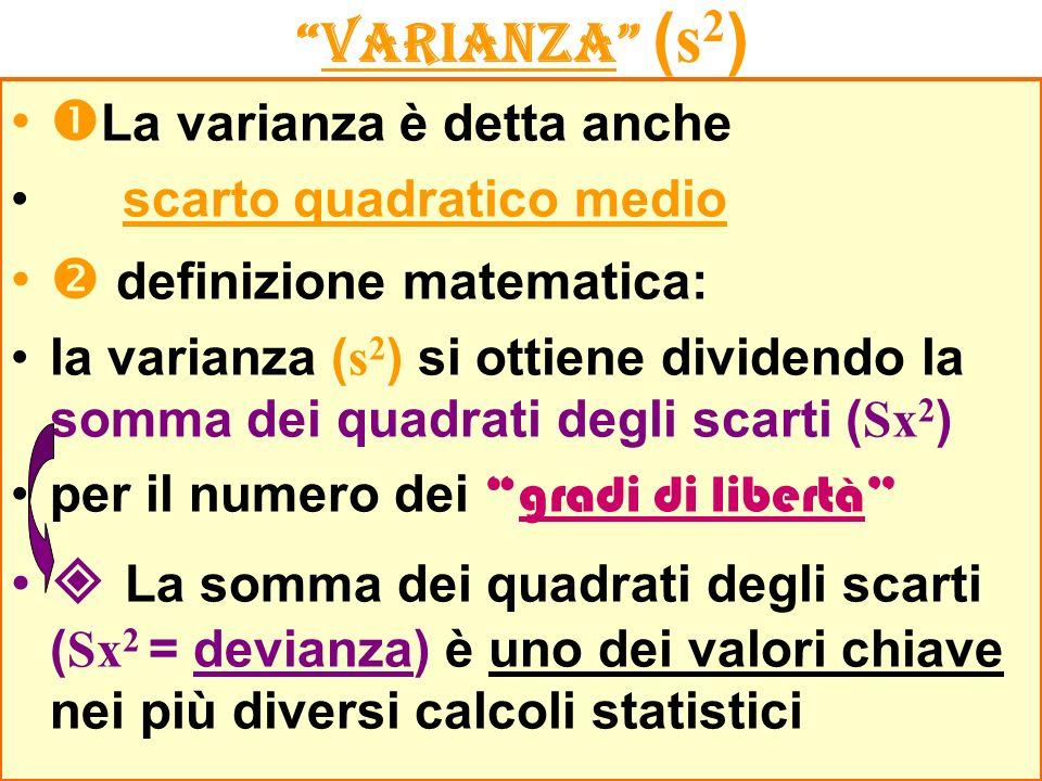 La varianza è detta anche  definizione matematica: