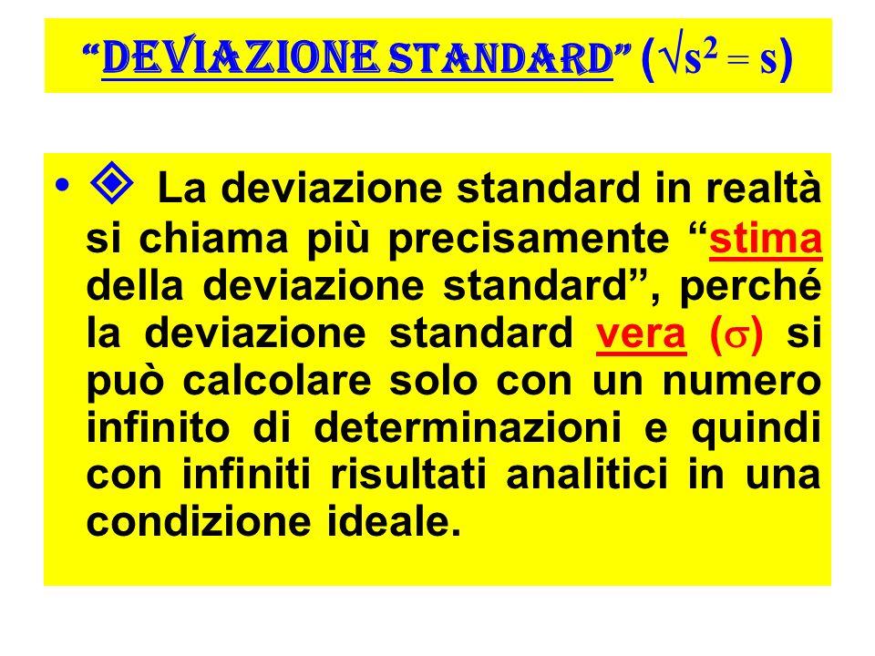 DEVIAZIONE STANDARD (s2 = s)