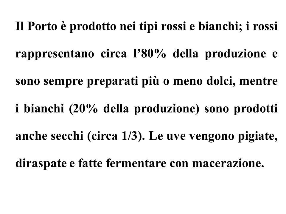 Il Porto è prodotto nei tipi rossi e bianchi; i rossi rappresentano circa l'80% della produzione e sono sempre preparati più o meno dolci, mentre i bianchi (20% della produzione) sono prodotti anche secchi (circa 1/3).