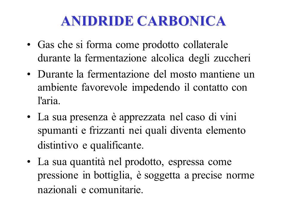ANIDRIDE CARBONICA Gas che si forma come prodotto collaterale durante la fermentazione alcolica degli zuccheri.