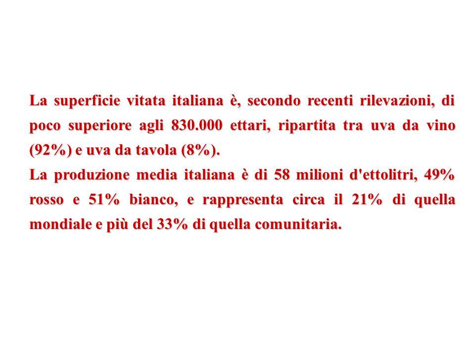 La superficie vitata italiana è, secondo recenti rilevazioni, di poco superiore agli 830.000 ettari, ripartita tra uva da vino (92%) e uva da tavola (8%).