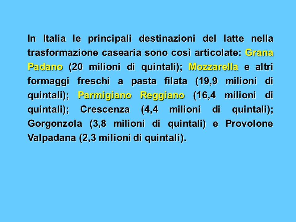 In Italia le principali destinazioni del latte nella trasformazione casearia sono così articolate: Grana Padano (20 milioni di quintali); Mozzarella e altri formaggi freschi a pasta filata (19,9 milioni di quintali); Parmigiano Reggiano (16,4 milioni di quintali); Crescenza (4,4 milioni di quintali); Gorgonzola (3,8 milioni di quintali) e Provolone Valpadana (2,3 milioni di quintali).