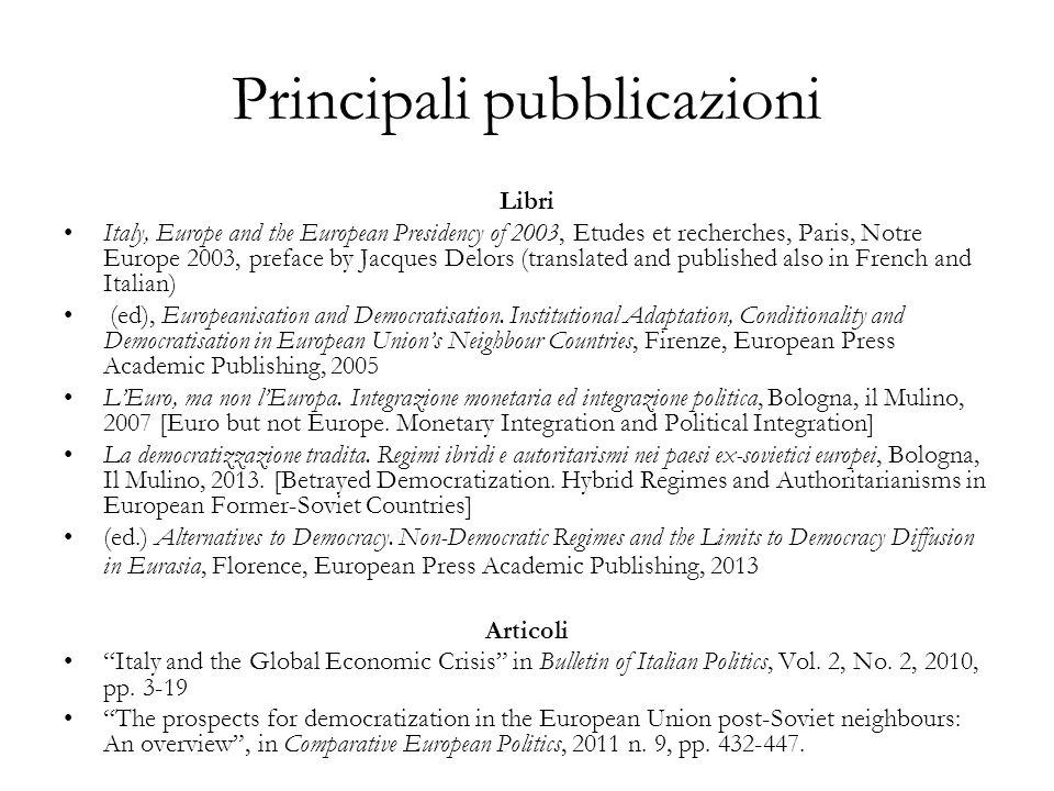 Principali pubblicazioni
