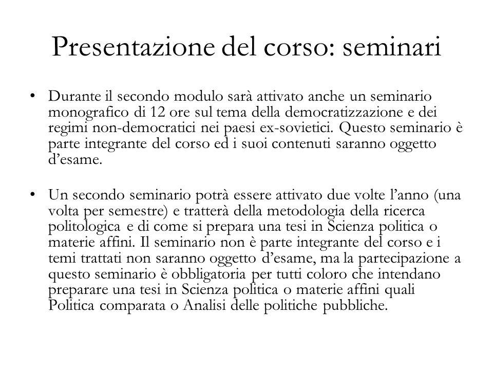 Presentazione del corso: seminari