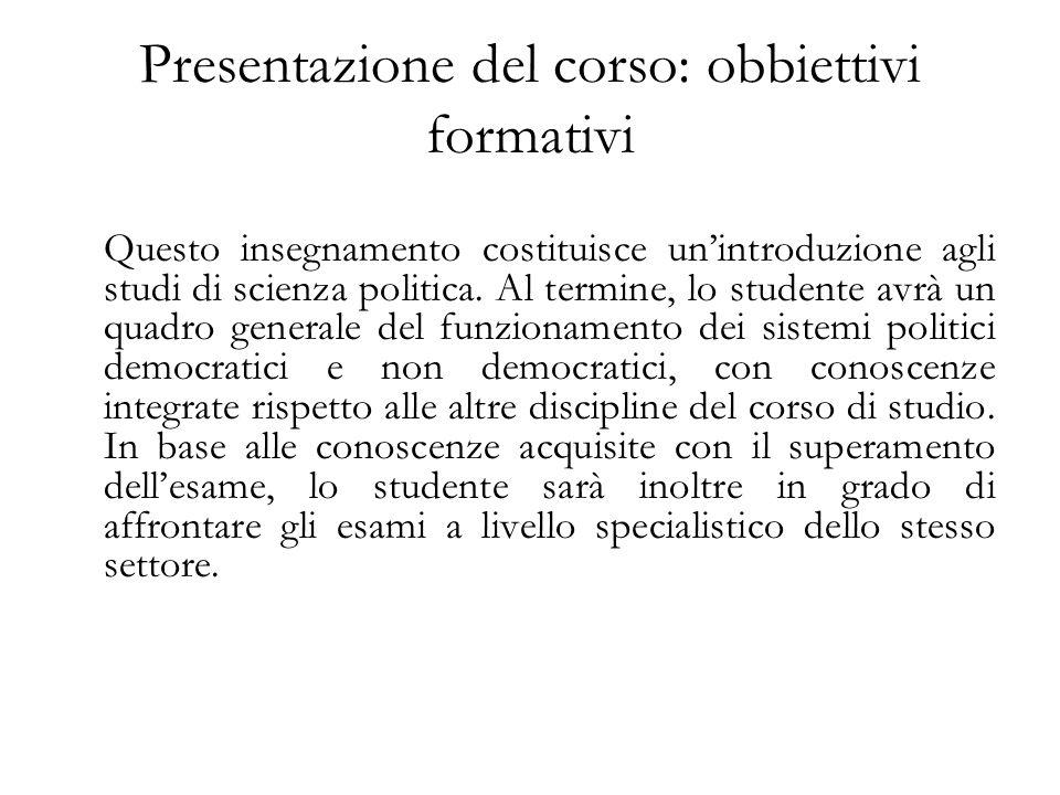 Presentazione del corso: obbiettivi formativi