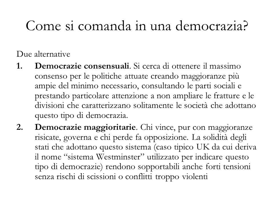Come si comanda in una democrazia