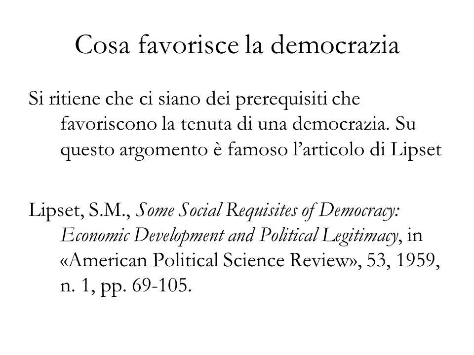 Cosa favorisce la democrazia
