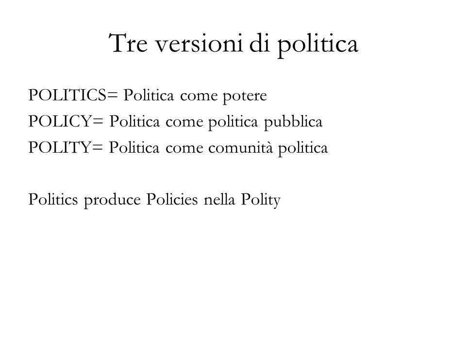 Tre versioni di politica