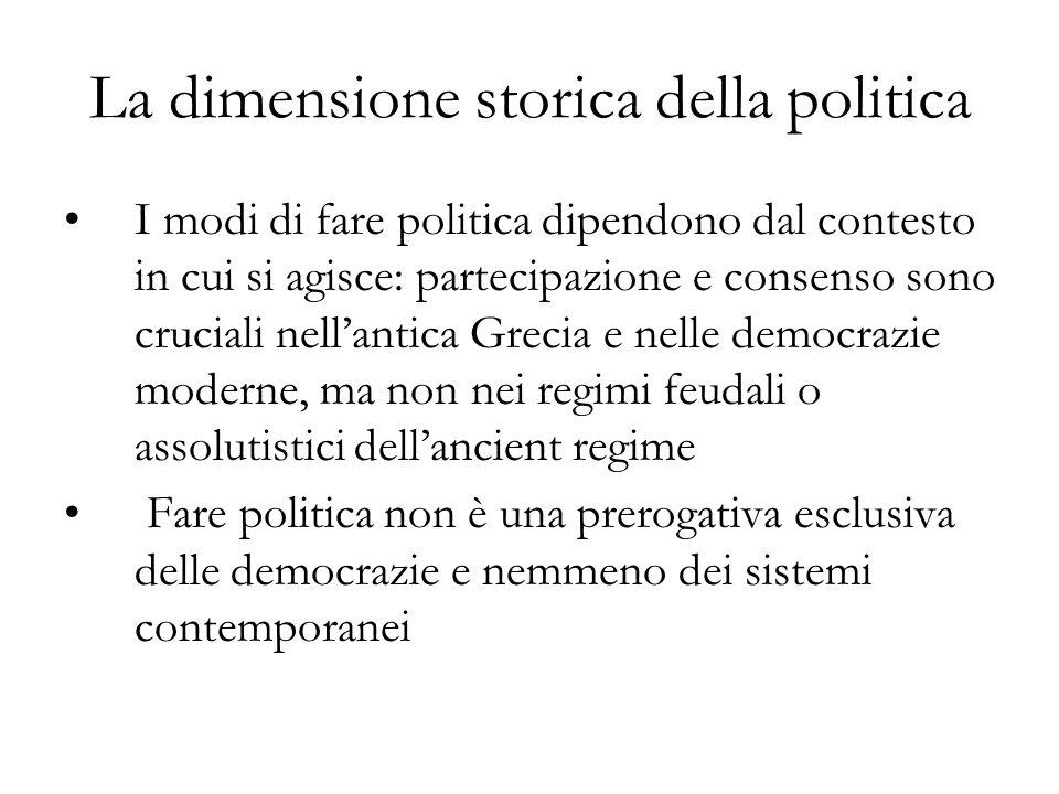 La dimensione storica della politica