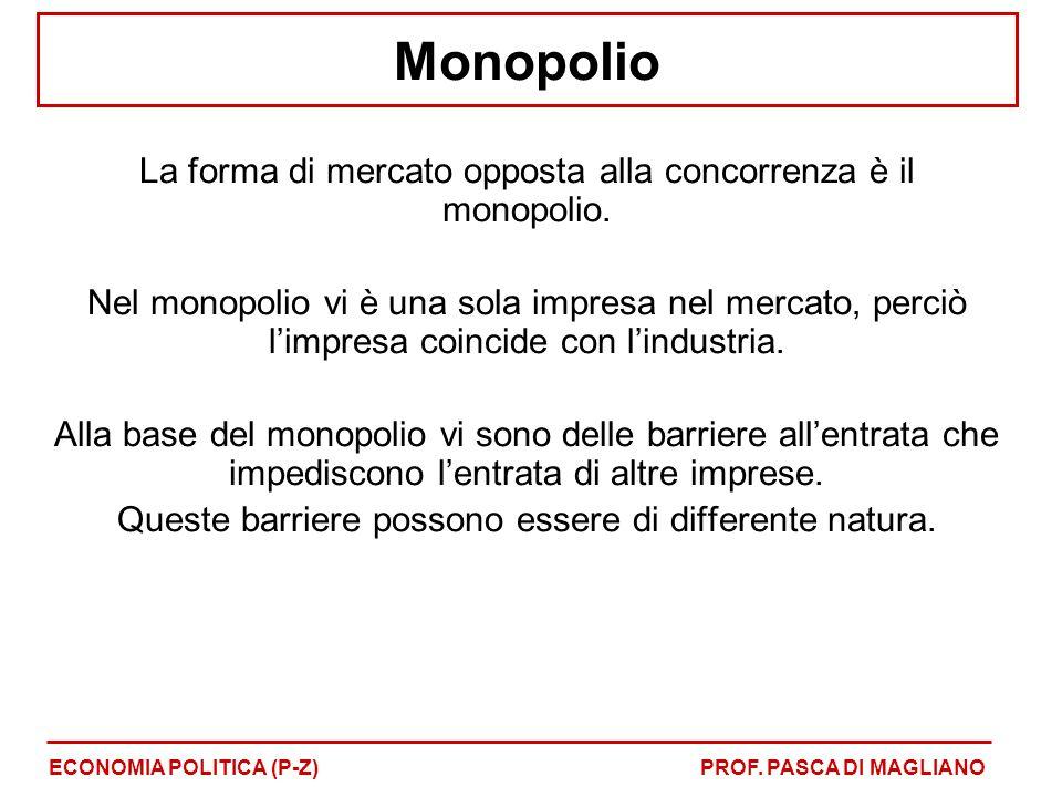 Monopolio La forma di mercato opposta alla concorrenza è il monopolio.