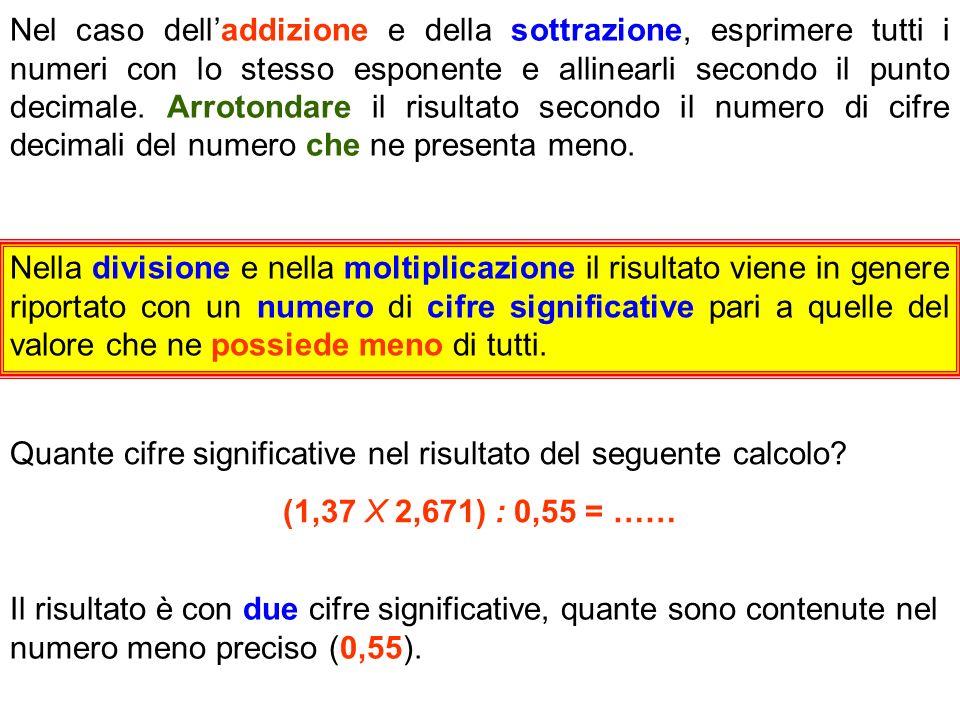 Nel caso dell'addizione e della sottrazione, esprimere tutti i numeri con lo stesso esponente e allinearli secondo il punto decimale. Arrotondare il risultato secondo il numero di cifre decimali del numero che ne presenta meno.