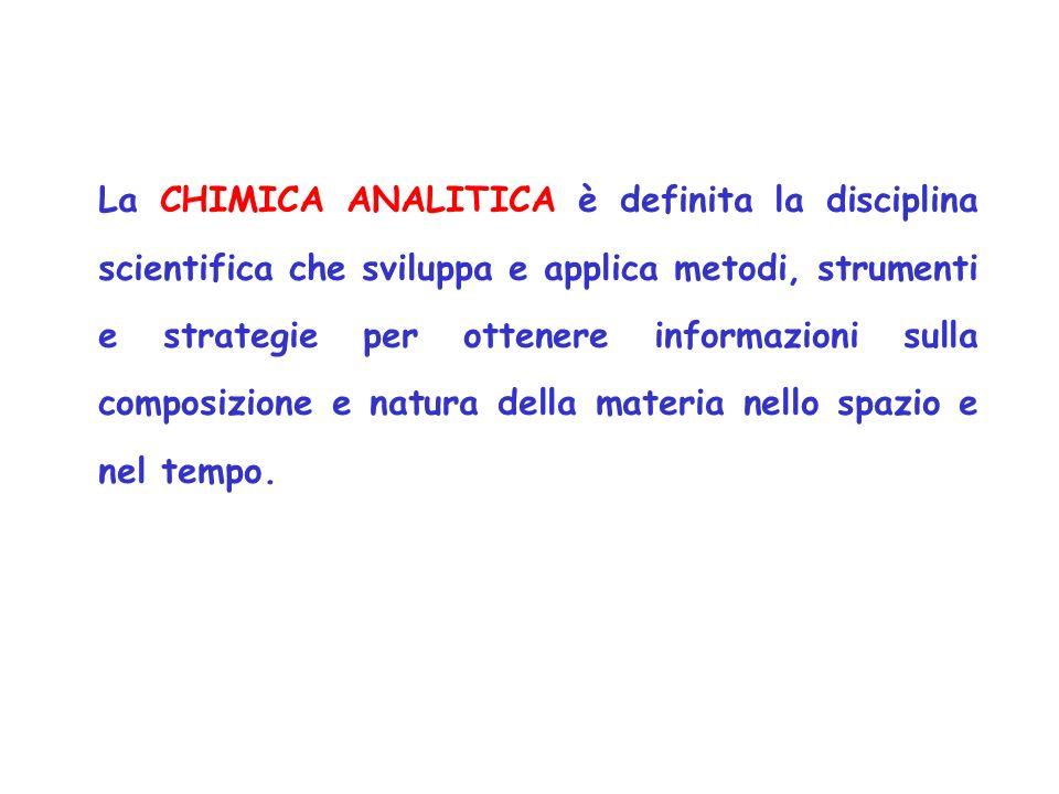 La CHIMICA ANALITICA è definita la disciplina scientifica che sviluppa e applica metodi, strumenti e strategie per ottenere informazioni sulla composizione e natura della materia nello spazio e nel tempo.
