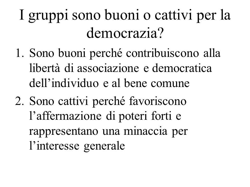 I gruppi sono buoni o cattivi per la democrazia