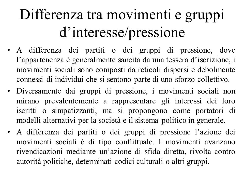 Differenza tra movimenti e gruppi d'interesse/pressione