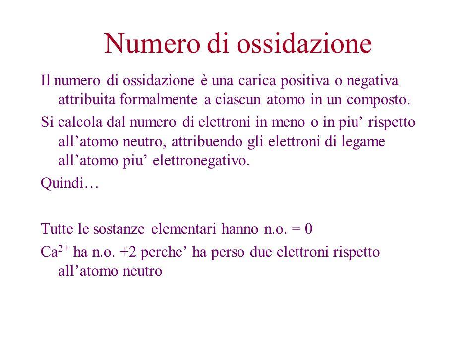 Numero di ossidazione Il numero di ossidazione è una carica positiva o negativa attribuita formalmente a ciascun atomo in un composto.