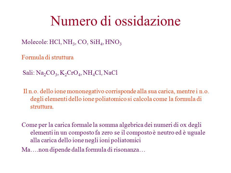 Numero di ossidazione Molecole: HCl, NH3, CO, SiH4, HNO3