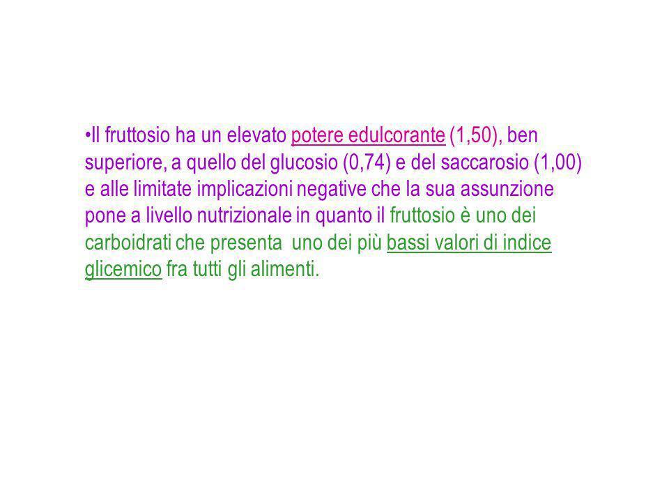 Il fruttosio ha un elevato potere edulcorante (1,50), ben superiore, a quello del glucosio (0,74) e del saccarosio (1,00) e alle limitate implicazioni negative che la sua assunzione pone a livello nutrizionale in quanto il fruttosio è uno dei carboidrati che presenta uno dei più bassi valori di indice glicemico fra tutti gli alimenti.